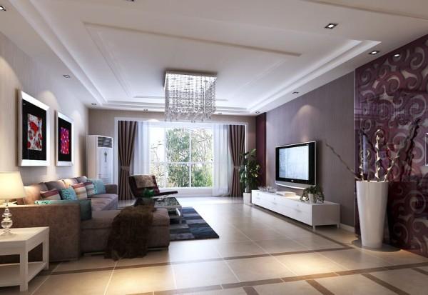 简单 大方,电视背景墙的祥云图案,增加居室的灵动性