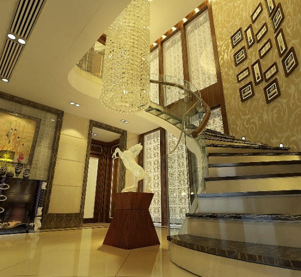 名雕装饰作品:中式风格经典楼梯设计,饰以精巧的吊灯和雅致的挂画,营造精致典雅氛围。