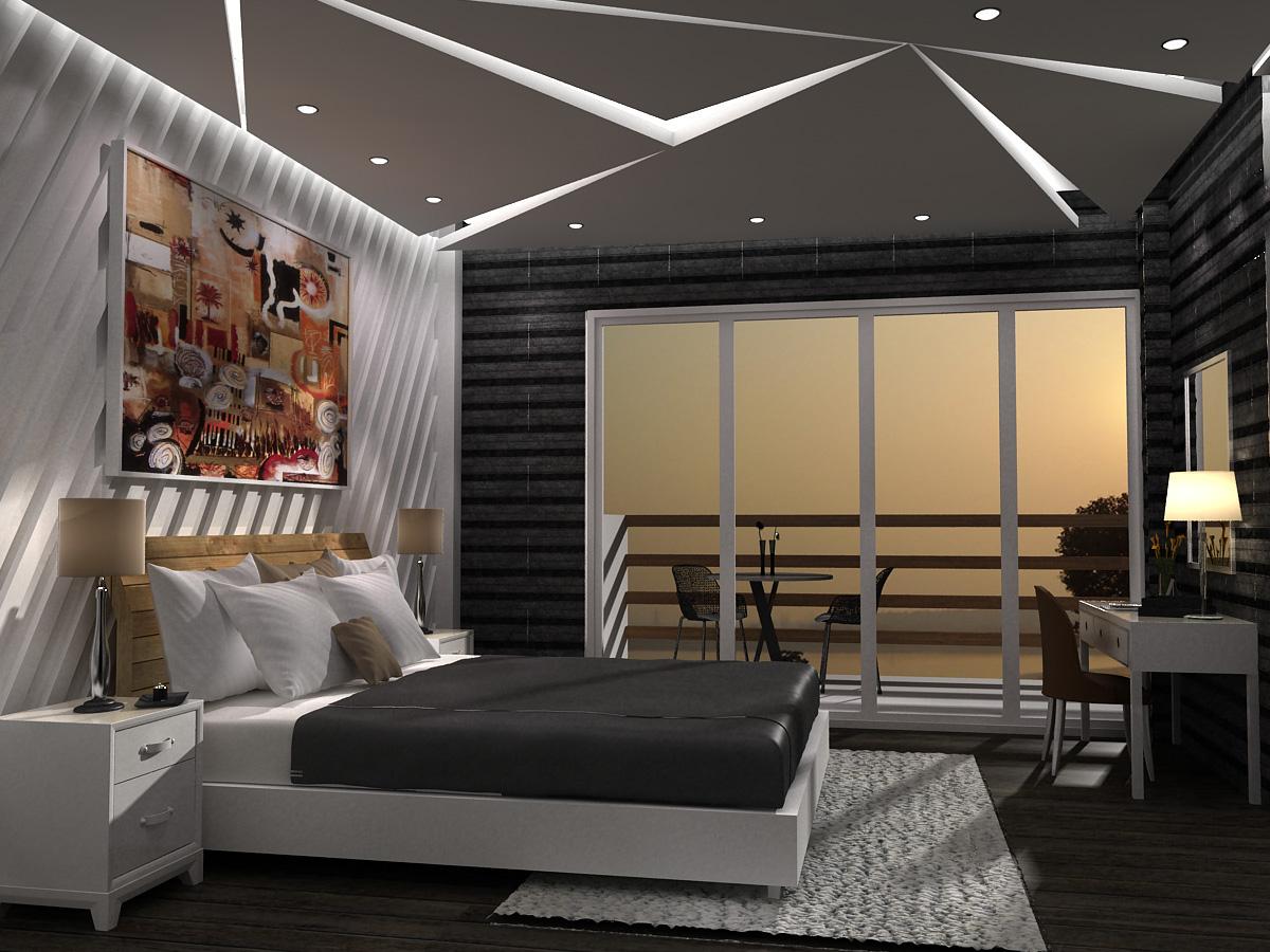 豪华 现代 别墅 卧室 卧室图片来自轻舟漠然在现代豪华别墅案例的分享