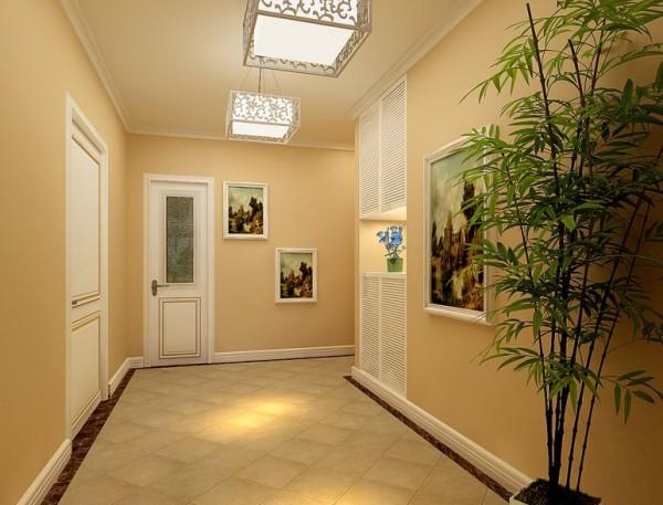 门厅效果图-三居室户型设计:以明亮为主,地板砖的斜向铺法,给人以一种清新的视觉体验,集合中式吊灯和竹子绿植装饰整体空间在无拘无束中又不失高贵大方和典雅。