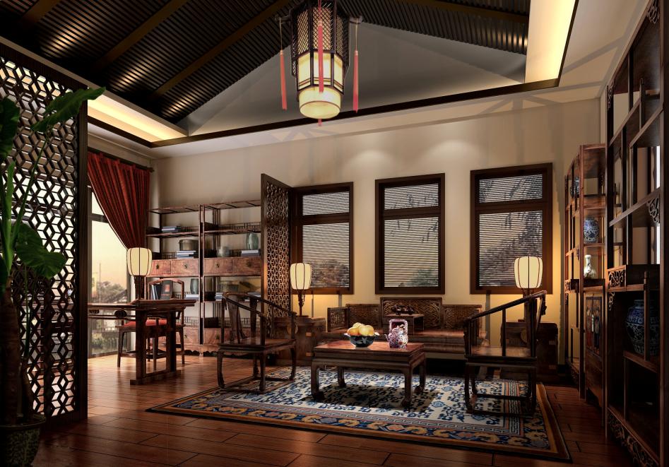 别墅 中式 东方韵味 豪宅 名雕装饰 书房图片来自名雕装饰设计在经典中式风格别墅设计的分享