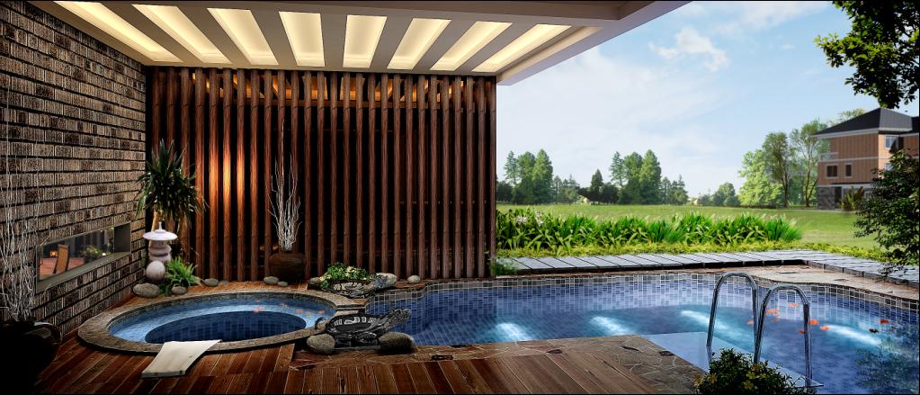 别墅 中式 东方韵味 豪宅 名雕装饰 游泳池 其他图片来自名雕装饰设计在经典中式风格别墅设计的分享