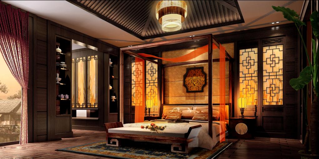 别墅 中式 东方韵味 豪宅 名雕装饰 卧室图片来自名雕装饰设计在经典中式风格别墅设计的分享