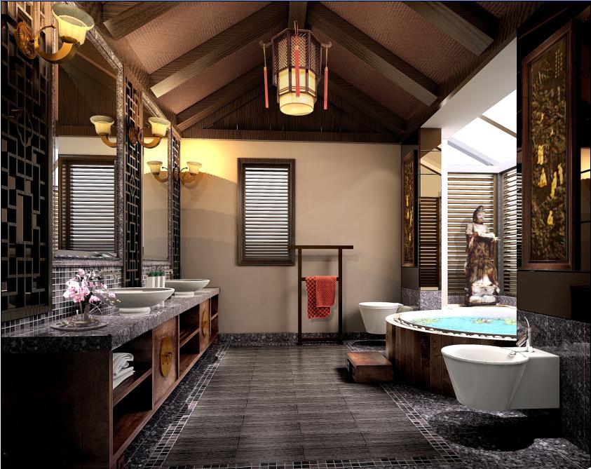 别墅 中式 东方韵味 豪宅 名雕装饰 卫生间图片来自名雕装饰设计在经典中式风格别墅设计的分享