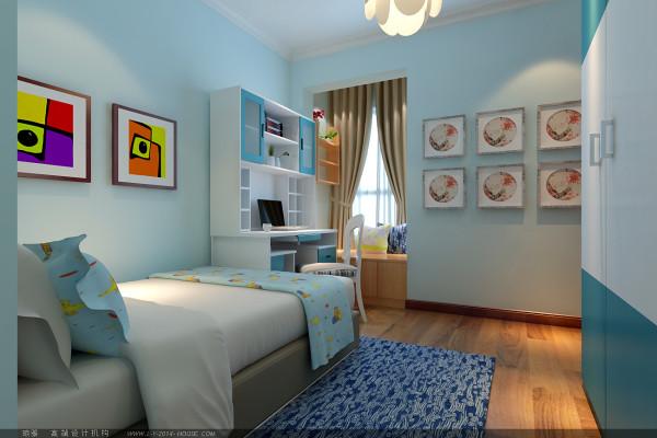 业主儿子还小,喜欢天蓝色的大海蓝天,设计师将蓝白色彩融入其中,彰显了孩童的纯真和善良。小窗台处做成休闲玩耍区,让孩子可以在学习之余晒晒太阳,小憩下。