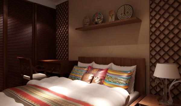 卧室设置在电视背景墙后面,咖色的家具配上浅色的布艺配饰,迎面感受东南亚的柔和温馨。在这边休息可以享受欧美风情,很好的感受家的温馨和睡眠的柔和。