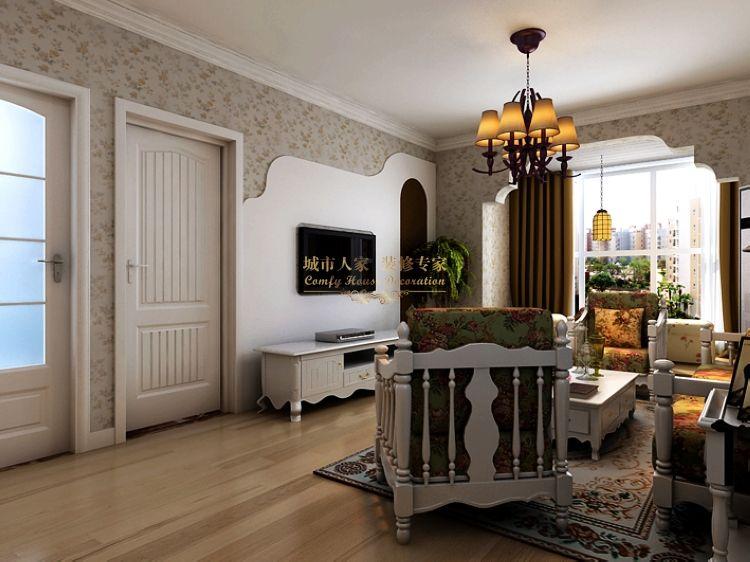 田园 二居 80后 客厅图片来自西安城市人家装饰公司在广厦水岸东方98平米装修设计的分享