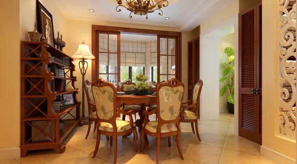 厨房是开敞的,同时有一个便餐台在厨房的一隅,还有具备功能强大又简单耐用的厨具设备,。有容纳双开门冰箱的宽敞位置和足够的操作台面。在装饰上,也采用仿古面的墙砖、橱具门板是白色模压门扇仿木纹色。