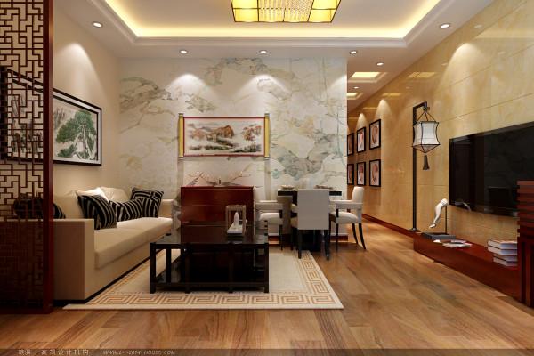 客厅整体以重视为主导,融入了现代元素,鹅黄色大理石电视背景墙、山水画的壁纸等,都讲主人的品味表现出来。