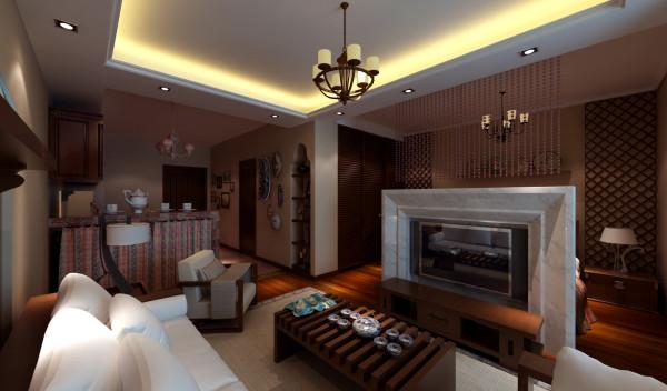 正面看客厅,入户门出设计师改造成厨房,电视背景墙选用大理石,既节约空间,又将东南亚的元素巧妙融入进去。墙壁悬挂的东南亚挂件、壁画增添了空间的艺术感。