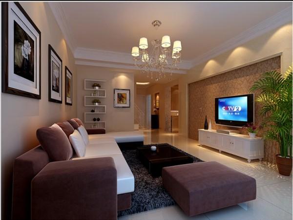 客厅就是延用简约风格,电视背景墙简单的用金色壁纸塑造,墙壁S型曲线摆放小盆栽或者小物件,增添美感。
