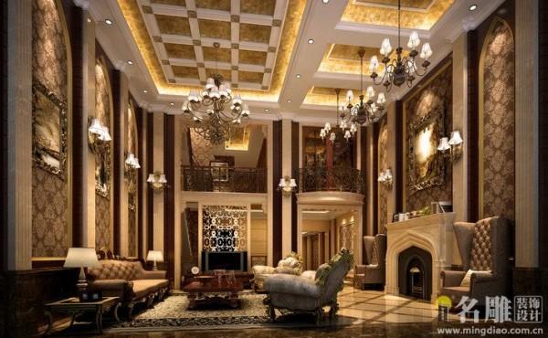 名雕装饰设计:二层起居室的护栏采用镂空木雕,新颖别致,效果华美。色泽搭配上富丽但不张扬,华贵而不庸俗。
