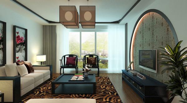 设计师将满月门的样式转换为大客厅的电视背景墙,既有中式的风韵又给予其家庭美满的美好愿景。在配上白色的沙发,深色木质的中式圈椅,中西合璧,深浅搭配相得益彰。和谐的环境,引人沉思。