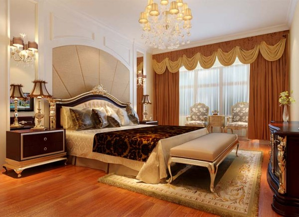 亮点:床头背景墙采用了软包与石膏板造型的搭配,加上欧式花纹壁纸以及壁灯的点缀,使卧室的温馨感十足,同时不乏欧式风格的端庄大气。