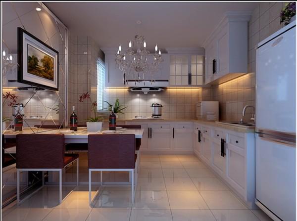 厨房选择白色的壁柜及吊柜,餐桌椅配以紫色,墙面组成光面镜,增添了空间感。厨房整体给人干净舒适的感觉。