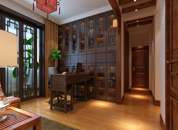 亮点:书房则使用中式的屏风作为书架的装饰与阳台门窗呼应。通过这种新的分隔方式,单元式住宅就能展现出中式家居的层次之美。