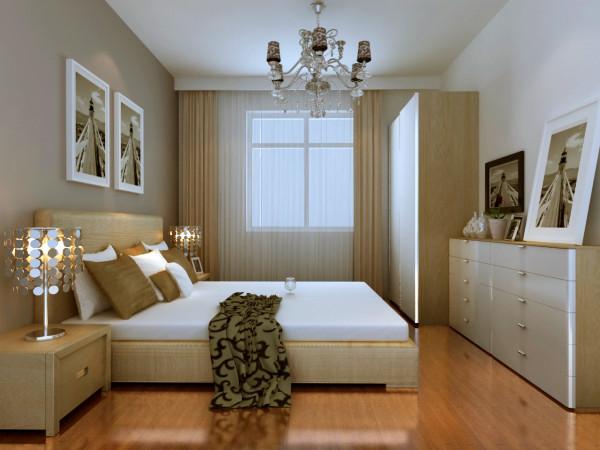 主卧室:主卧室空间以灰色墙面做呼应,白色加木色家具做搭配,突显出卧室的温馨、明亮。