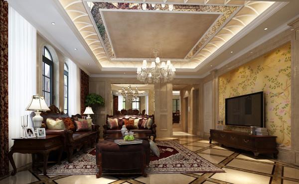 尚层别墅装饰 远洋傲北 550平米 低调的奢华 客厅,在设计上,经典与现代的元素被完美地结合起来,设计者能够用理性而睿智的态度演绎居住者讲究高品质且简单舒适的生活态度。