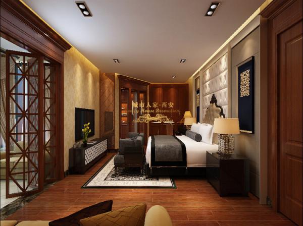 进入主卧室空间,以简单、舒适的基调搭配皮革主题墙面,反映出优雅的生活模式与品位。