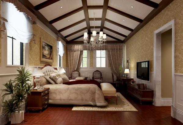 尚层别墅装饰 远洋傲北 550平米 低调的奢华 卧室,在设计上,经典与现代的元素被完美地结合起来,设计者能够用理性而睿智的态度演绎居住者讲究高品质且简单舒适的生活态度。