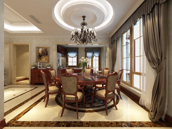 尚层别墅装饰 蓝岸丽舍 450平米 简欧风格 餐厅,无论是古典欧式风格还是简欧风格,其设计哲学都是追求深沉里显露尊贵、典雅中浸透豪华的设计表现。