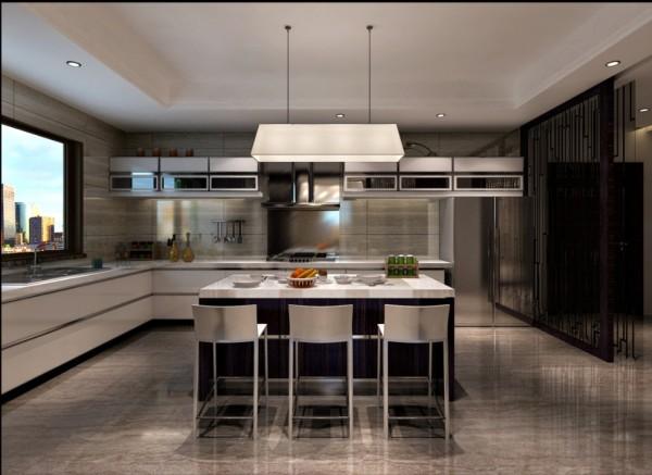 尚层别墅装饰 西山壹号院 400平米 现代简约装修风格 厨房家具的线形变直,不再是圆曲的洛可可样式,装饰以青铜饰面采用扇型、叶板、营造出的氛围不仅拥有典雅、端庄的气质,在艺术形式上,强调理性而非感性的表现。