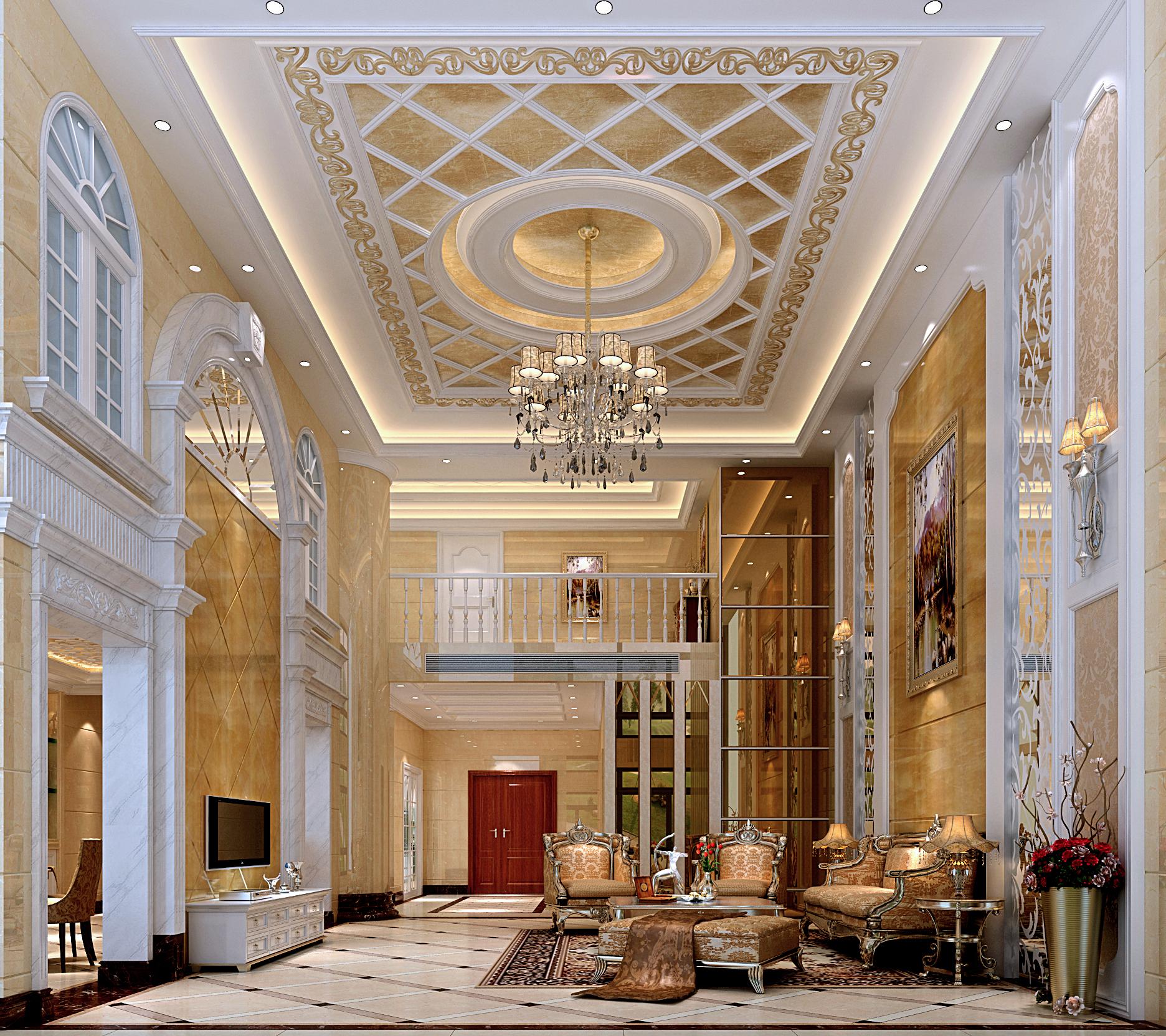 欧式 别墅 典雅 高富帅 三层别墅 客厅图片来自名雕装饰设计在别墅旧房改造,彰显典雅品味的分享
