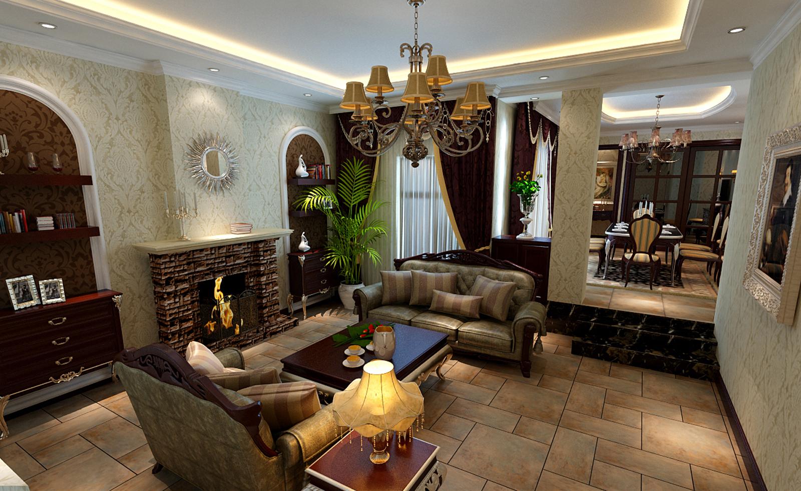 美式风格 别墅装修 精美别墅 美式 欧美风 80后 企业家 旧房改造 实创装饰 客厅图片来自北京实创装饰在250㎡美式别墅装修实际案例的分享