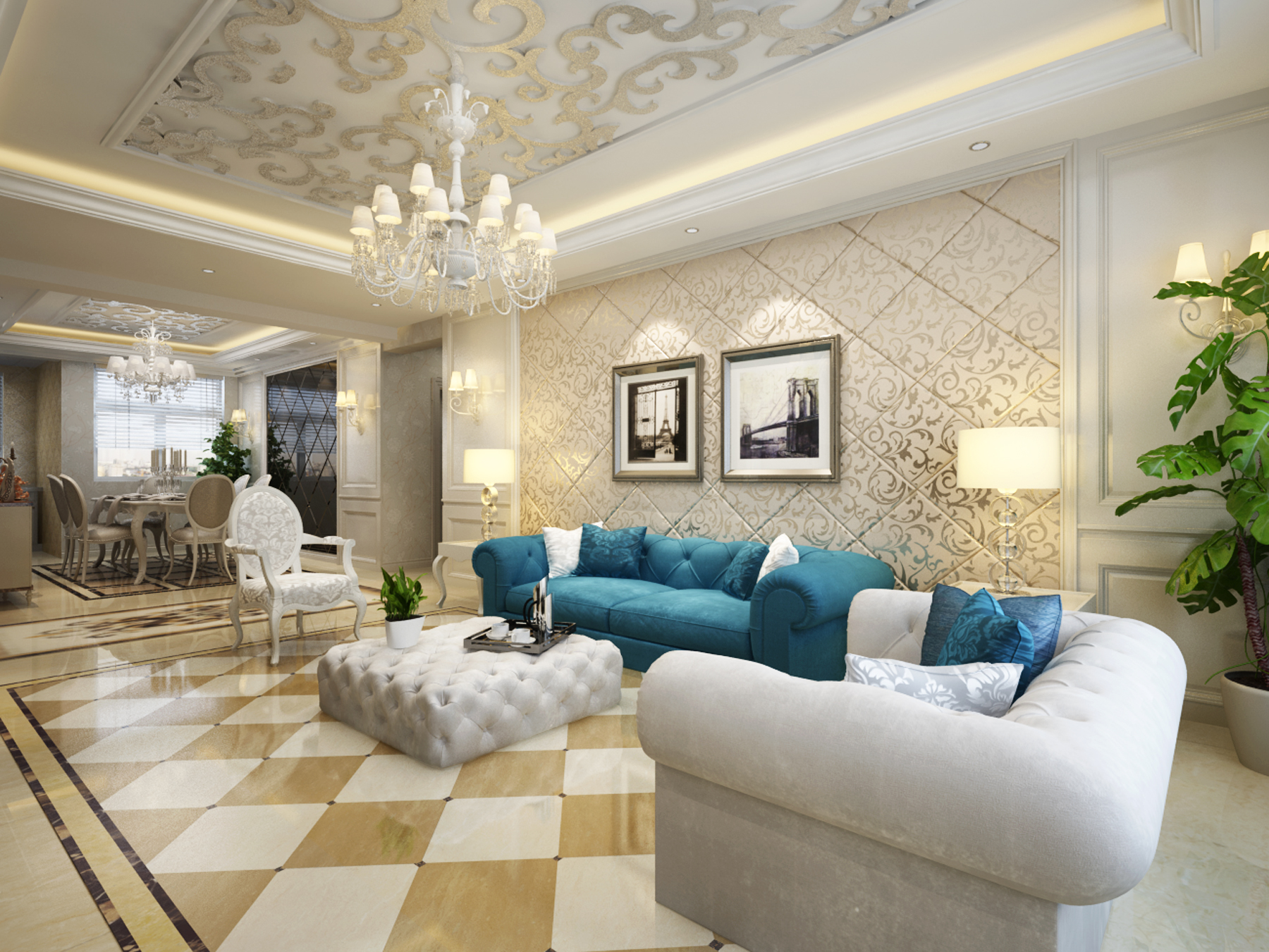 客厅图片来自西宁实创装饰在欧式新古典两居凸显贵族气质的分享