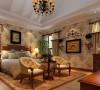 卧室布置较为温馨,作为主人的私密空间,主要以功能性和实用舒适为考虑的重点,用温馨柔软的成套布艺来装点,同时在软装和用色上达到统一。