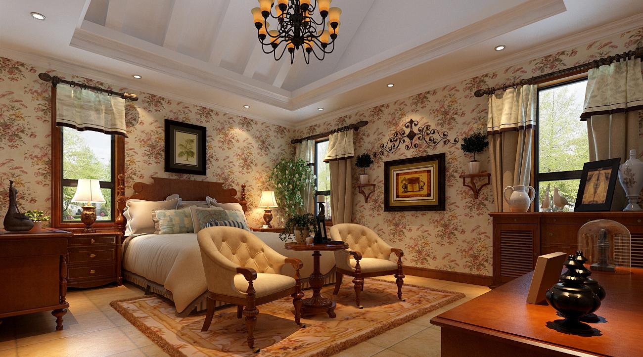 实创装饰 达安 美式乡村 卧室图片来自实创装饰晶晶在达安206美式乡村别墅案例设计的分享