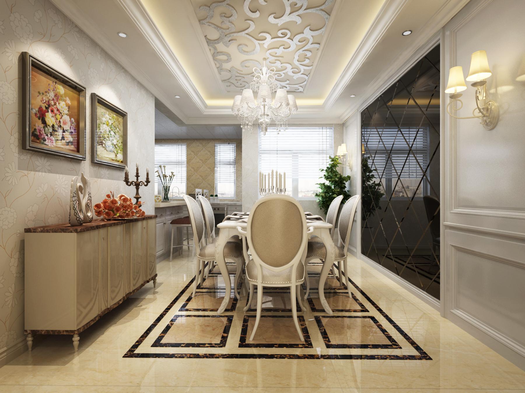 餐厅图片来自西宁实创装饰在欧式新古典两居凸显贵族气质的分享
