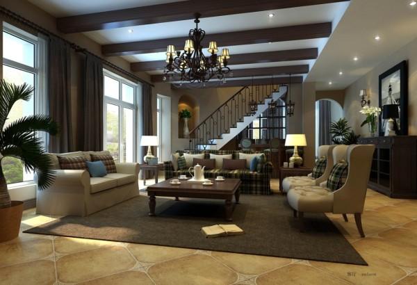 尚层别墅装饰 阳光假日 440平米  美式风格,美式家具将许多欧洲贵族的家具平民化,有着简化的线条、粗犷的体积、自然的材质, 较为含蓄保守的色彩及造型。