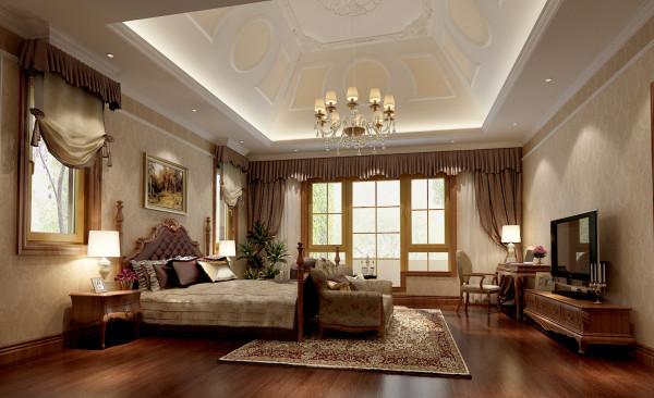 尚层别墅装饰 蓝岸丽舍 450平米 简欧风格 卧室,期望这种表现能够完整地体现出居住人追求品质、典雅生活,视生活为艺术的人生态度。