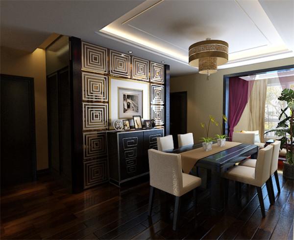 新中式风格-餐厅背景墙设计效果