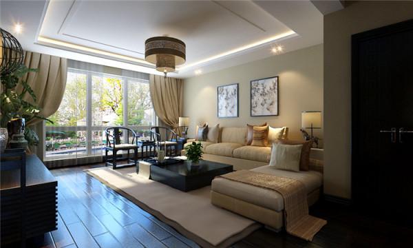 新中式风格-客厅沙发背景墙设计效果