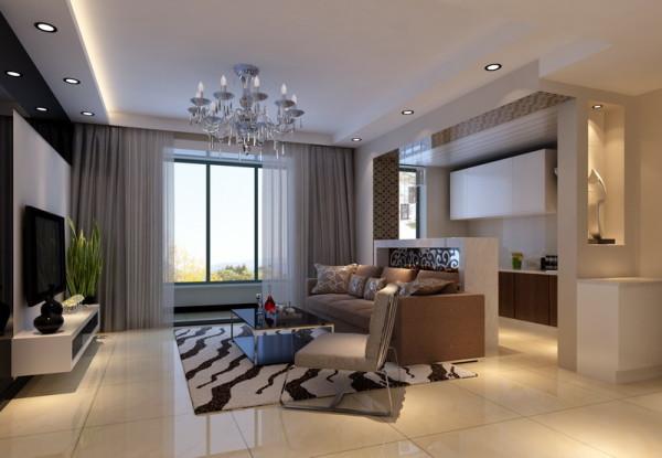 整体空间采用时尚简约风格的灰白色调,咖色的沙发增添了时尚感;厨房做成开放式的,用半截式的吧台分隔开,这样空间更具通透性。