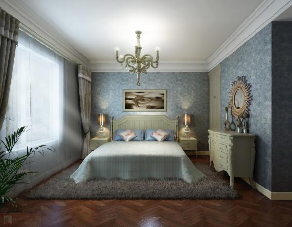 卧室:阳光的照耀,床头柜与灯饰的摆放,毛绒的地毯,让整体不失高贵