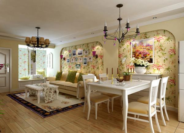 大麦黄色的整体墙面加上蓝灰色的沙发背景,古朴的地砖,让灵动的空间充满了自然气息。