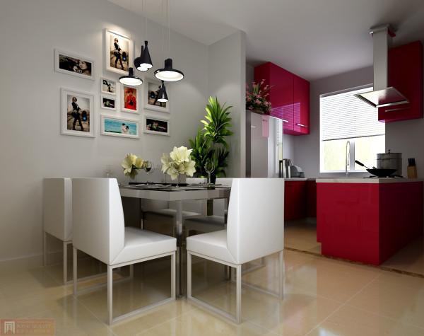 开放式的厨房,甜美的粉红色搭配白餐桌,让空间更加浪温而温馨的小资生活