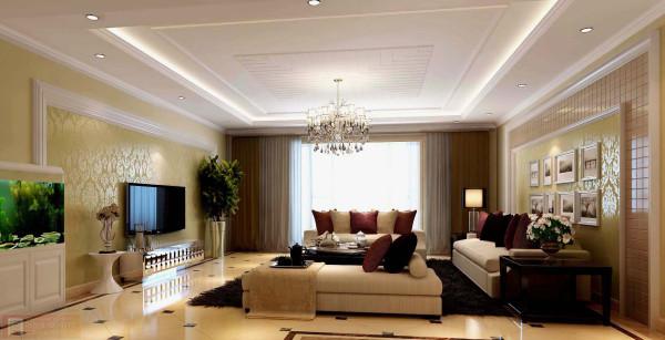 客厅:高档欧式风格的客厅电视背景墙装修设计,给客厅笼罩上一股时尚典雅的欧式气息