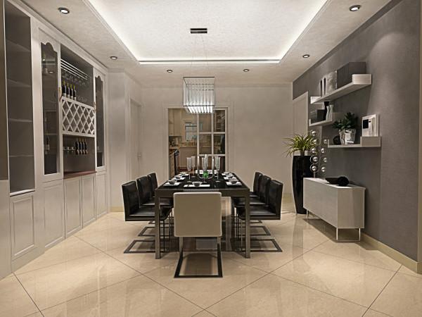 设计理念:在家具配置上,白亮光系列家具。在配饰上,延续了黑白灰的主色调,以简洁的造型、完美的细节,营造出时尚前卫的感觉。 亮点:餐厅背景墙,既时尚又有氛围