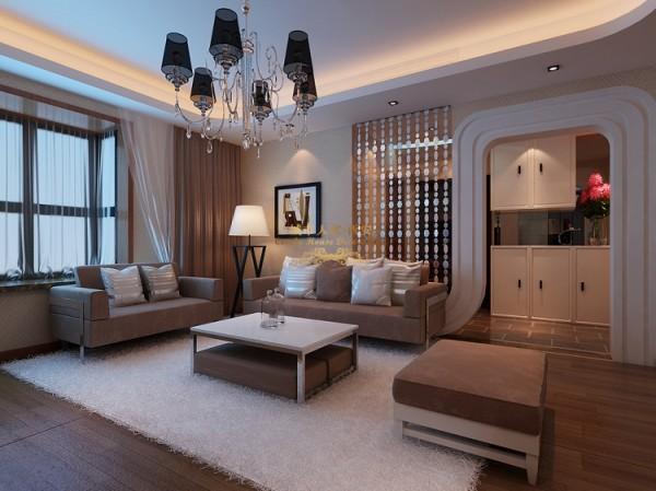 由于沙发背景墙过短,后期定做成平隔断将墙面延生与电视墙相对对称。