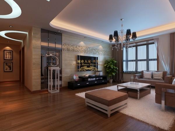 客厅的色条以暖色为主,顶面采用中央空调设计。