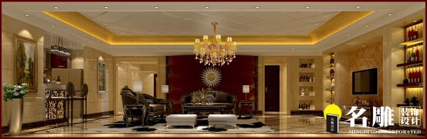 名雕装饰设计:负一层生活厅,红色背景墙以及欧式家居引领高贵品质生活