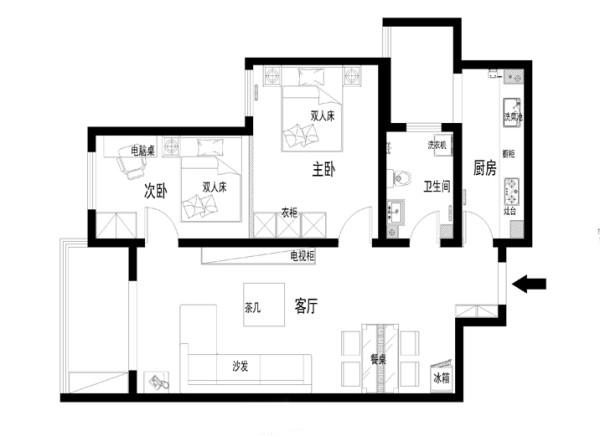 北京海淀区装修-90平米欧式经典风格效果图-两室两厅效果图