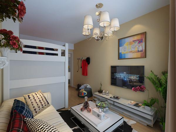 客厅的位置空间比较小所以在设计中采用高架床下面设计建议书桌,解决了休息和写字台的问题,减少了空间在平面上的利用