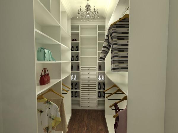 衣帽柜是专为女主人设计的。衣服、鞋子还有包包都是女主人的宝贝,这样既不杂乱,又可以看做是一种欣赏。