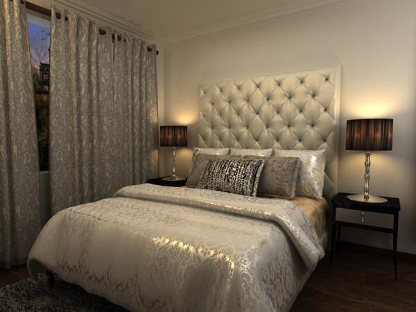 主卧选用暖色调的墙壁还有配饰,展现了品味。简单没有复杂的造型反而显得空间大气。