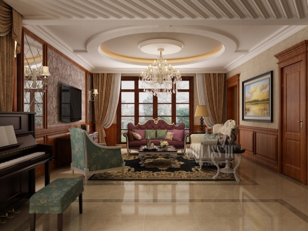 客厅的装修色彩搭配上给人的感觉,比较稳重大气,让人感觉客户也是一个稳重,但是行事却执着的人。